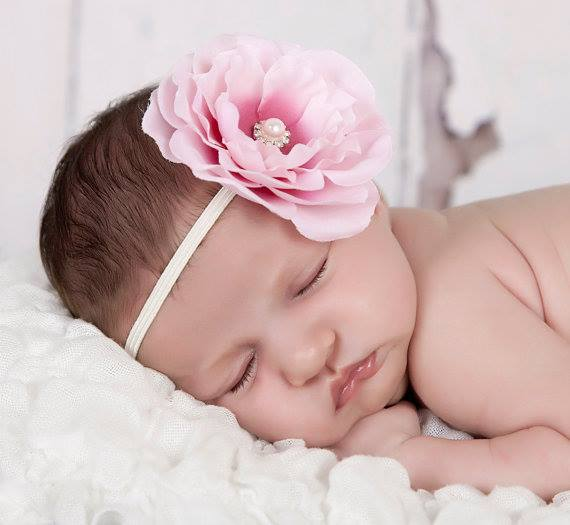 Pink two-toned flower with rhinestone on a soft elastic headband