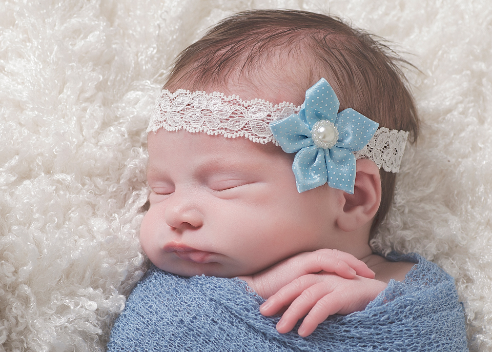 Beautiful baby blue satin flower with a pearl centre on a wide lace headband b7f53248e63