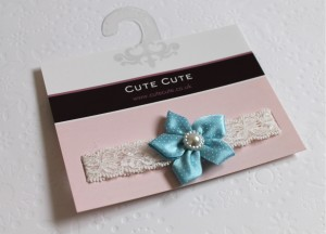 Blue dotty flower on soft elastic lace