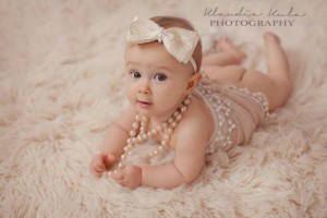 Gold and ivory lace bow with pearl headband