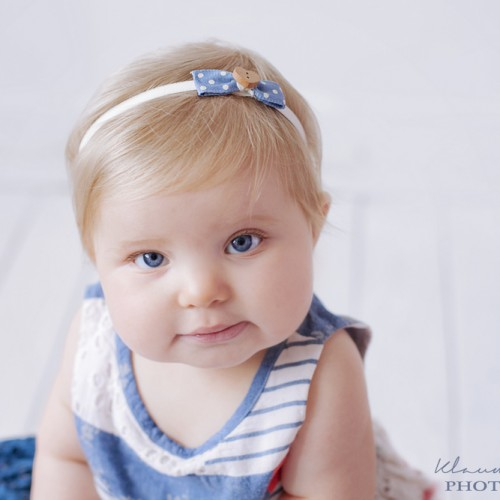 Girls and babies headband navy with wooden button