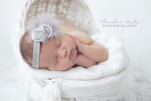 Grey rose with feather, pearls and rhinestone headband