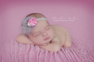 Pink rose with grey feather and stone- headband