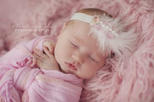Beautiful ivory, pink, pearl and feather headband