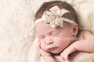 Vintage champagne rose with lace bow and stone- headband