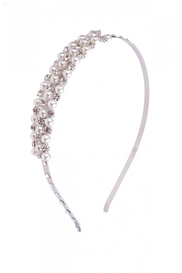 Exclusive silver thin headband decorated with Swarovski diamante and pearls