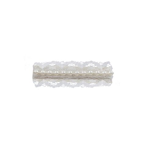 Ivory lace clip with pearls