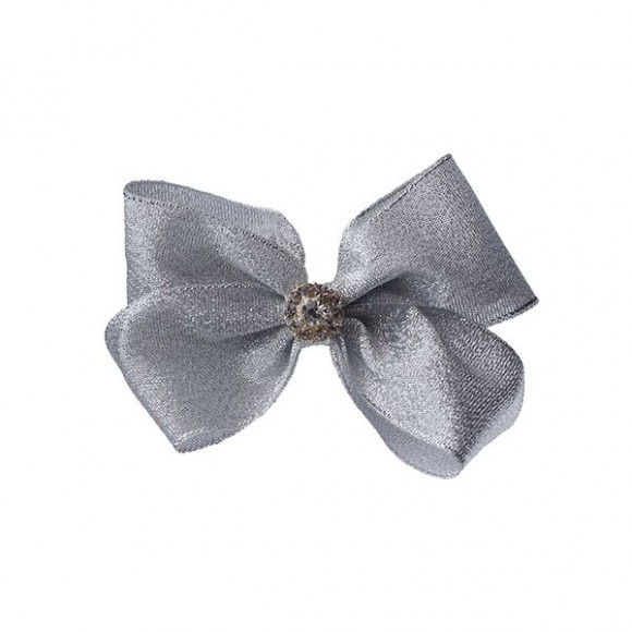 Silver large bow on a clip