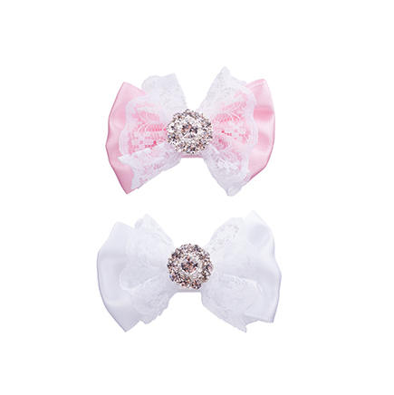 Satin bow with white lace and rhinestone in pink or white