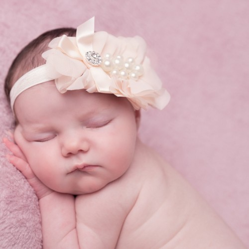 Light peach chiffon flower with rhinestone on soft elastic band