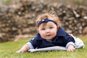 Navy bow on navy elastic with stone