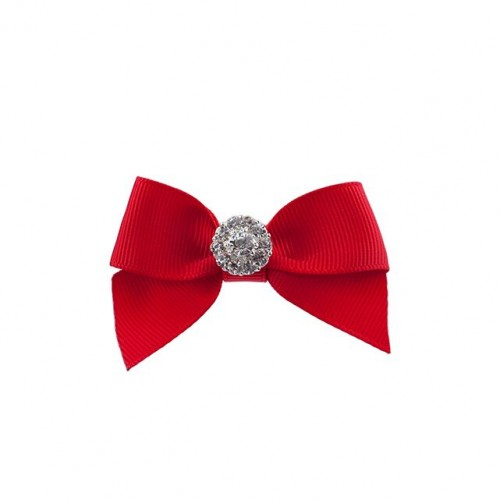 Small single bow with tails rhinestone -various colours