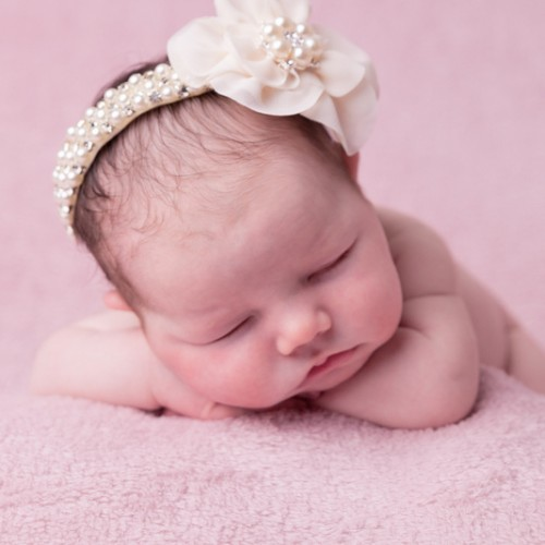 Exclusive crystal and pearl headband with chiffon flower
