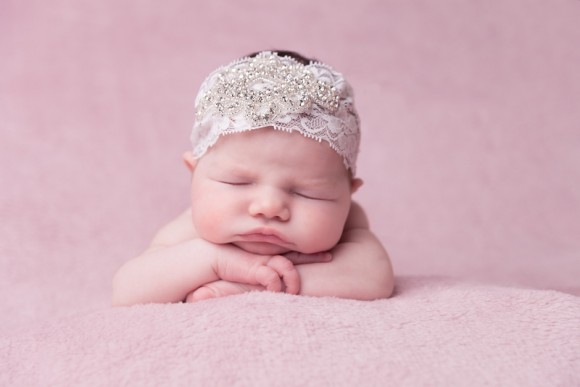 Exclusive crystal design on ivory wide lace headband