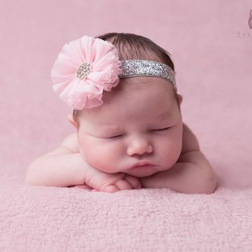 Baby pink chiffon flower with rhinestone on a silver glittery headband